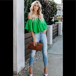 Boutique Green off shoulder flounce slow kiss top